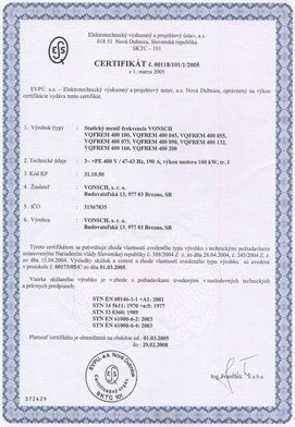 Certificate - VQFREM 400 045 up to 400 200
